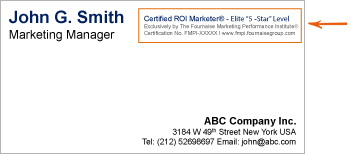 Certified roi marketer certification materials fournaise display your certified roi marketer text badge on your business card reheart Images